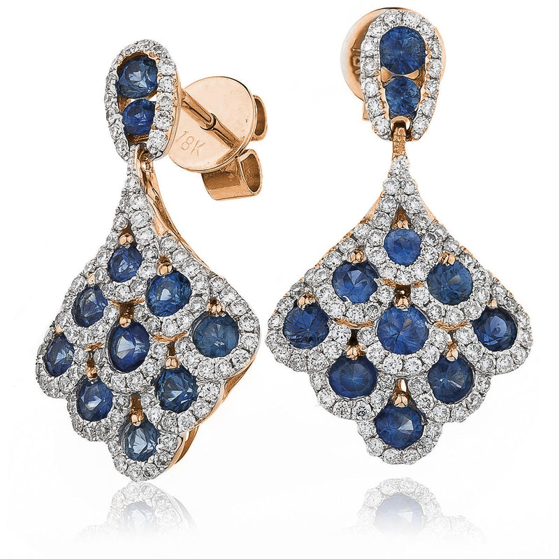 Diamond & Blue Sapphire Cluster Drop Earrings 2.30ct - Hamilton & Lewis Jewellery