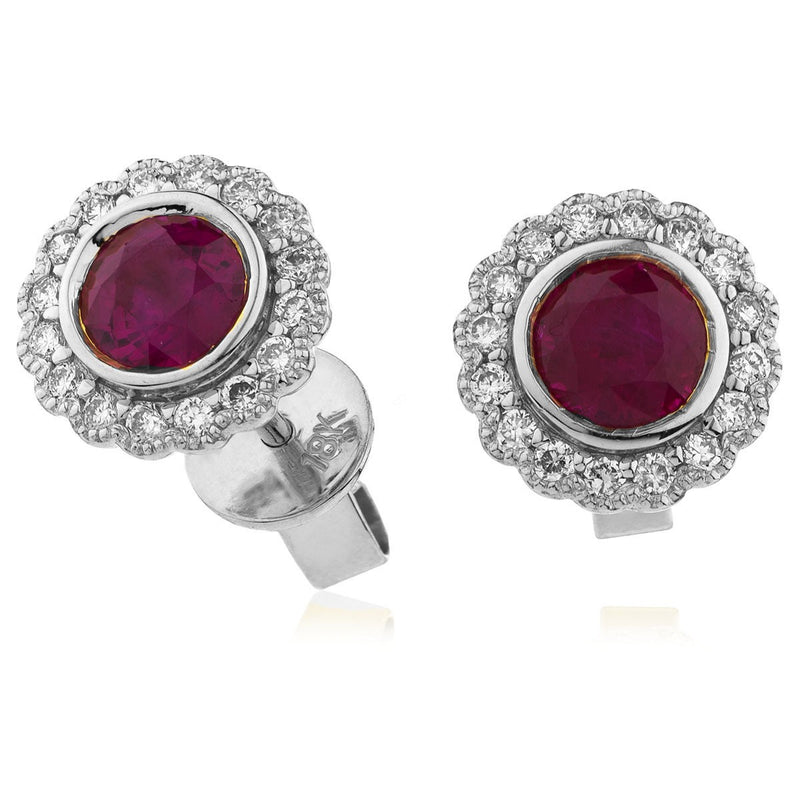 0.65ct Ruby Earrings with Diamond Halo