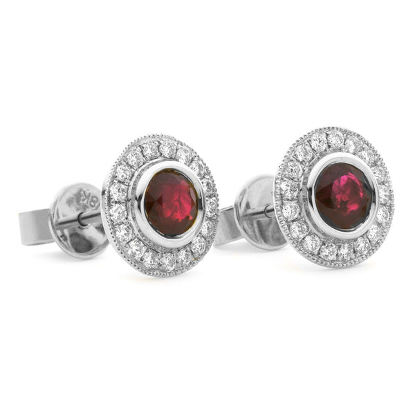 Diamond & Ruby Earrings 0.55ct - 2.15ct - Hamilton & Lewis Jewellery