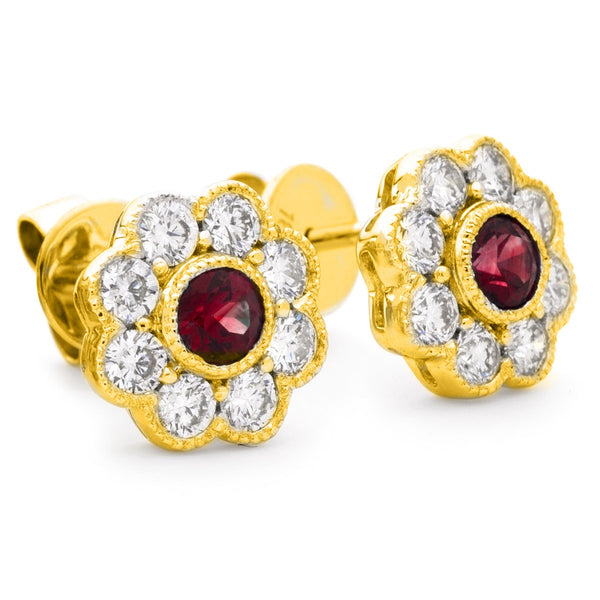 Diamond & Ruby Earrings 1.15ct - Hamilton & Lewis Jewellery