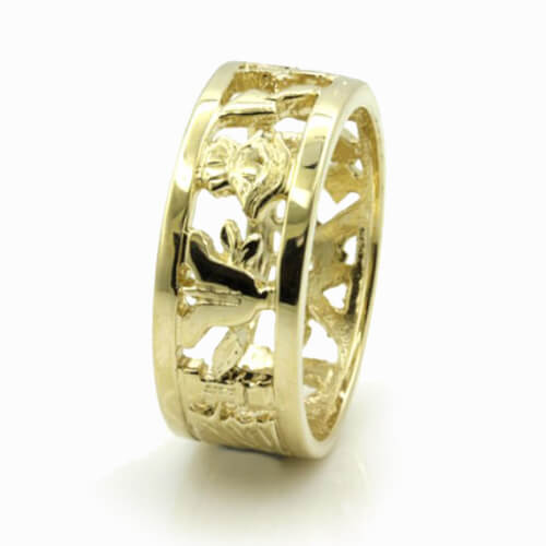 Masonic Wedding Ring in Solid 9ct Yellow Gold – Heavy (8mm) - Hamilton & Lewis Jewellery