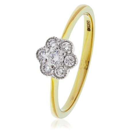Classic Deco Cluster Ring 0.30ct - 0.50ct - Hamilton & Lewis Jewellery