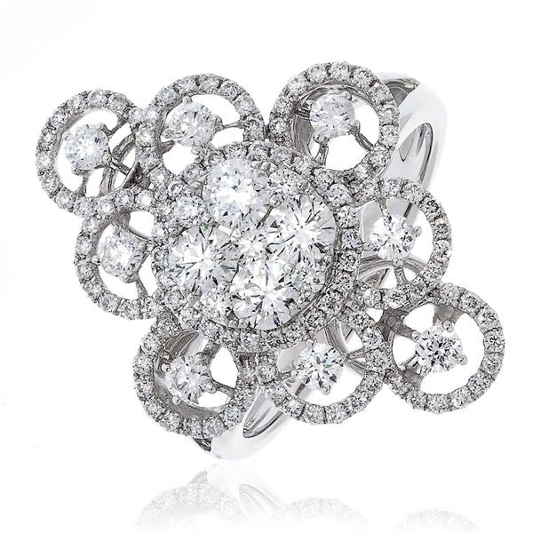 Classic Cocktail Cluster Ring 1.35ct - Hamilton & Lewis Jewellery