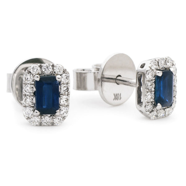 Diamond & Blue Sapphire Emerald Shaped Earrings 0.90ct - Hamilton & Lewis Jewellery