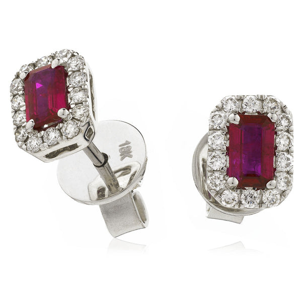 Diamond & Ruby Emerald Shaped Earrings 0.90ct - Hamilton & Lewis Jewellery