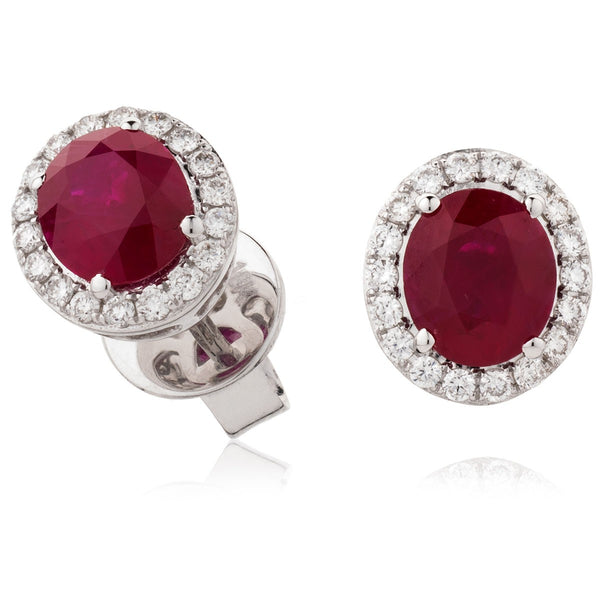 Diamond & Ruby Earrings 2.50ct - Hamilton & Lewis Jewellery