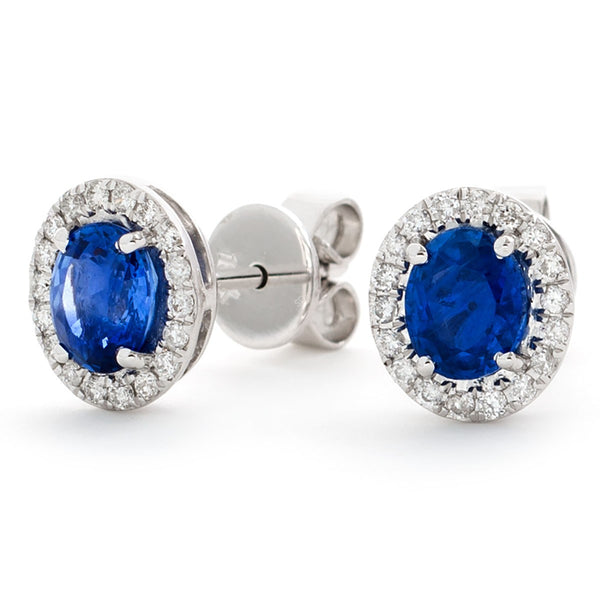 Diamond & Blue Sapphire Earrings 1.70ct - Hamilton & Lewis Jewellery