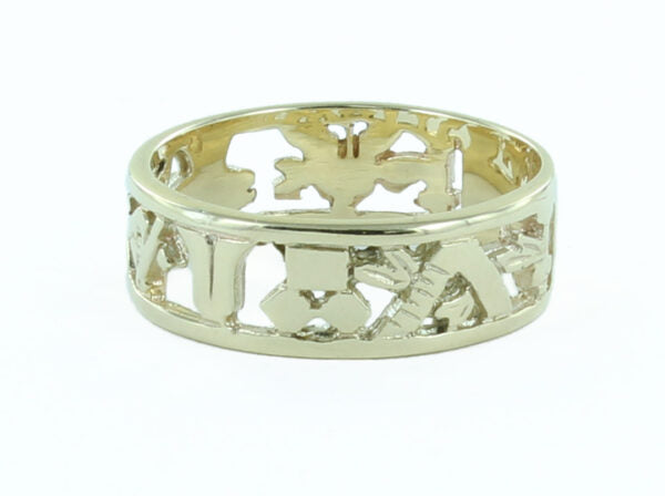 Masonic Wedding Ring in Solid 9ct Yellow Gold - Hamilton & Lewis Jewellery