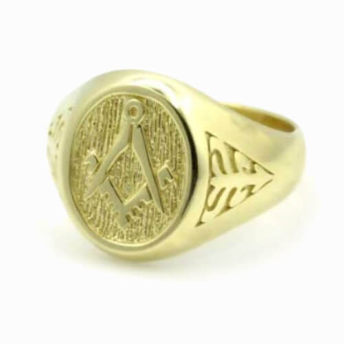 Solid 9ct Yellow Gold Masonic Signet Ring with Acacia Leaf Design - Hamilton & Lewis Jewellery