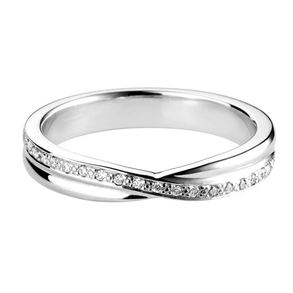 Diamond Set Crossover shaped wedding ring - Hamilton & Lewis Jewellery