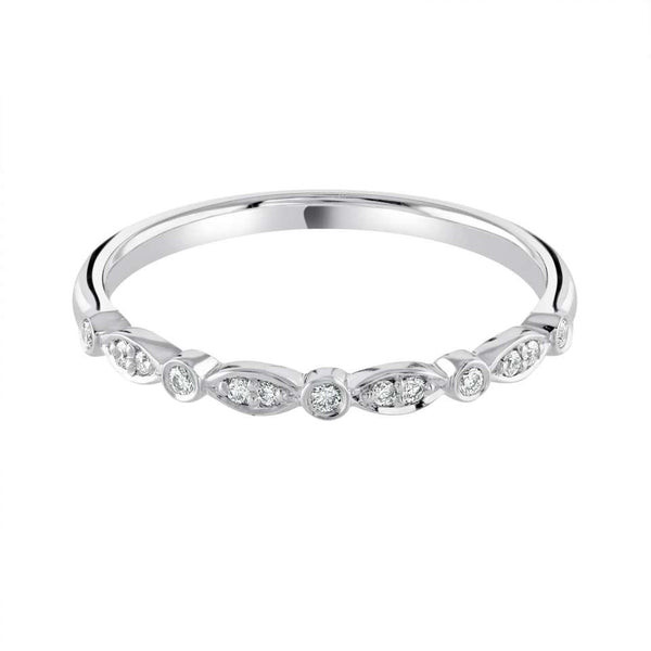 Rubover and Grain set shaped wedding ring - Hamilton & Lewis Jewellery