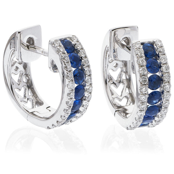 Diamond & Blue Sapphire Hoop Earrings 0.90ct - Hamilton & Lewis Jewellery