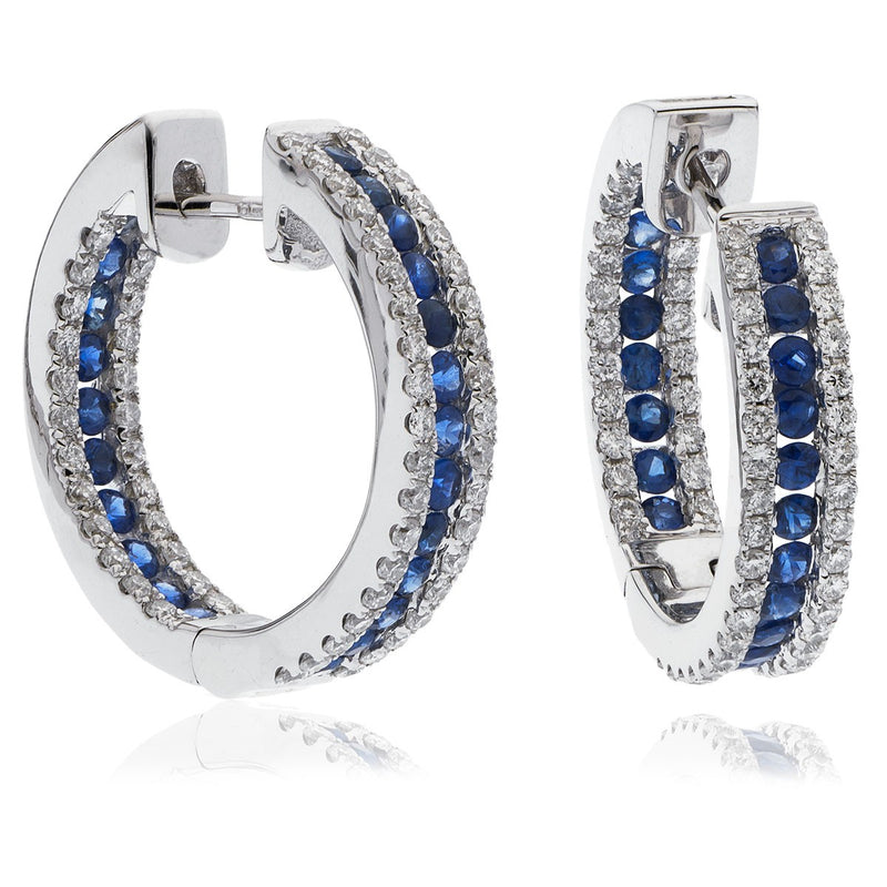 Diamond & Blue Sapphire Hoop Earrings 1.85ct - Hamilton & Lewis Jewellery