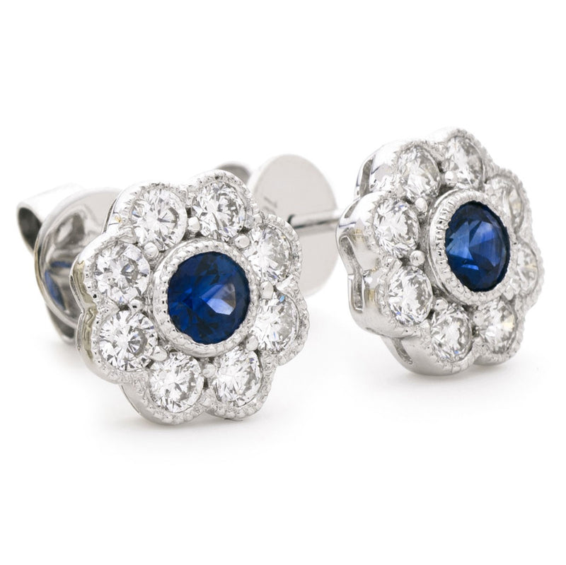 Diamond & Blue Sapphire Floral Earrings 1.15ct - Hamilton & Lewis Jewellery