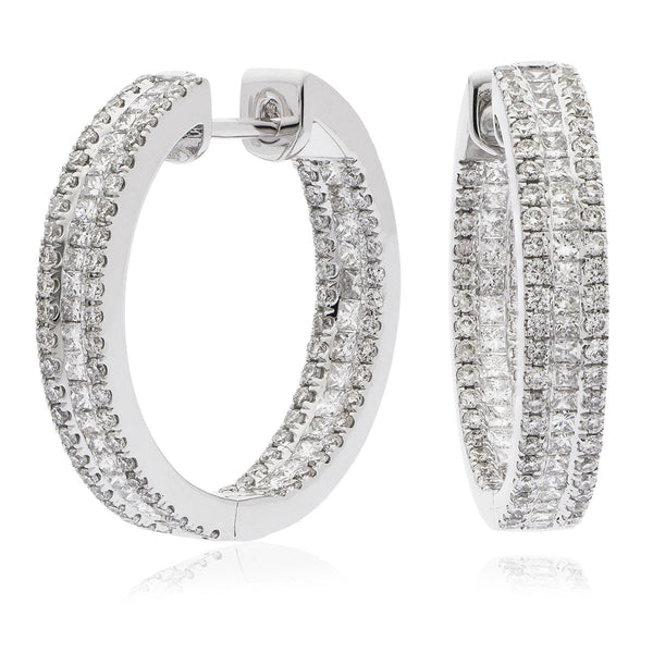 Diamond Hoop Earring Set 1.80ct - Hamilton & Lewis Jewellery