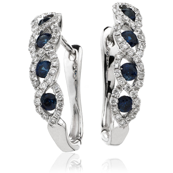 Diamond & Blue Sapphire Earrings 0.65ct - Hamilton & Lewis Jewellery