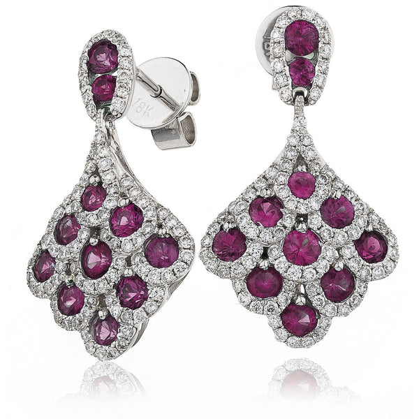 Diamond & Ruby Cluster Drop Earrings 2.20ct - Hamilton & Lewis Jewellery