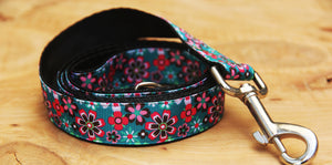Green Modern Flower Dog Lead