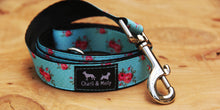 Load image into Gallery viewer, Aqua Roses Dog Lead