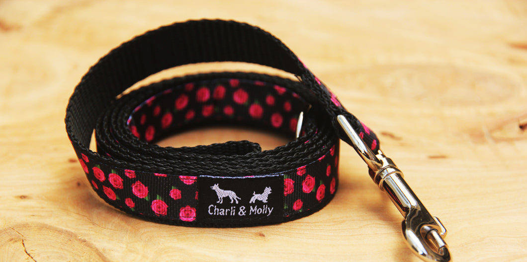Pink Roses on Black Dog Lead