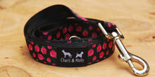 Load image into Gallery viewer, Pink Roses on Black Dog Lead