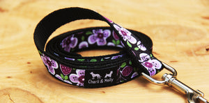 Purple Flower Power Dog Lead