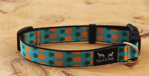 Pineapples Blue Dog Collar