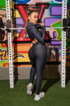 LONG LEOTARD WITH EXTRA CROPPED HOODIE WORKOUT SET - GUN METAL GREY