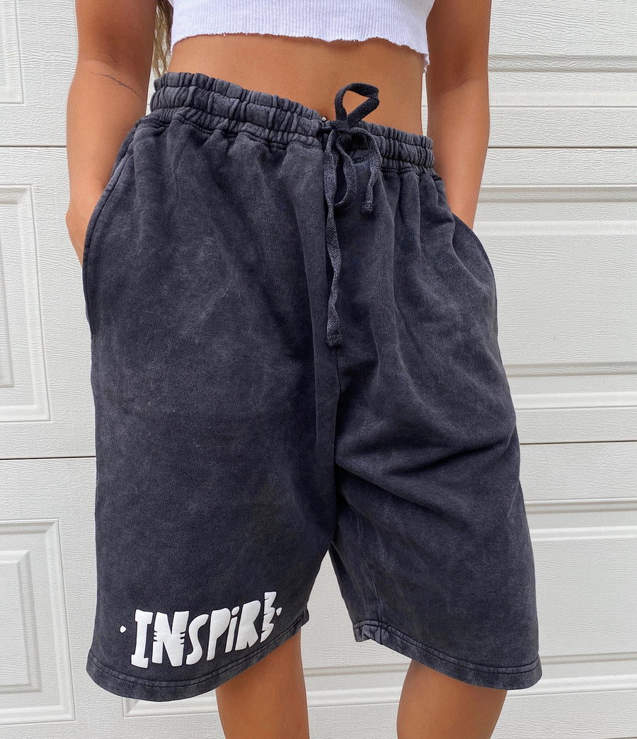 INSPIRE OVER SIZED SHORTS - VINTAGE GREY