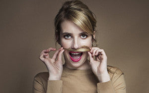 Emma Roberts doesn't really have a moustache.