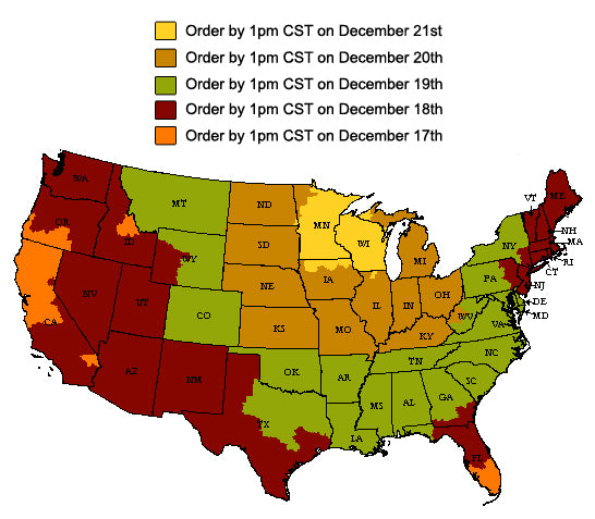 The holiday map clears up all confusion of when you need to order.