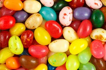 Close up of assorted multicolored jelly beans.