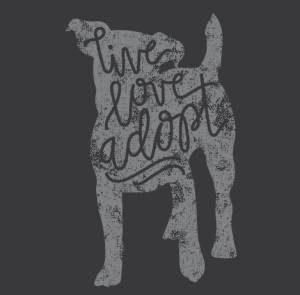 Help us to spread the word with these cool T-shirts in support of doggie adoption