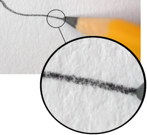 Here's a close look at what's happening when you leave penciil marks on a piece of paper.