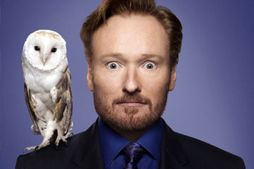 Conan 'No-Nose' O'Brien pictured with an owl