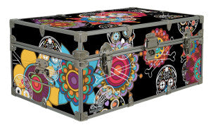 This surprisingly colorful camp trunk is great for Dia de los Muertos!