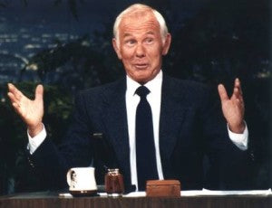 Legendary Late Night host, Johnny Carson gives fruitcake a hard time.