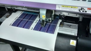 Our CNL printer drums out these clothing labels all day long.