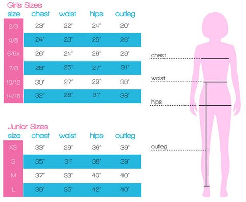 Size Chart for Candy Pink girl's apparel