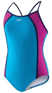This modest, thin strap mesh one piece looks and feels great in the water!