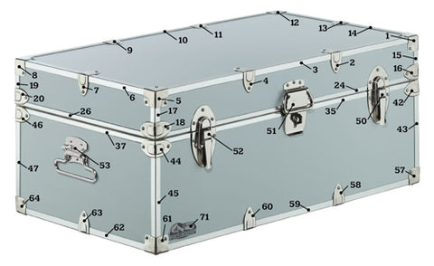 Front of of trunk with all pieced of hardware individually numbered