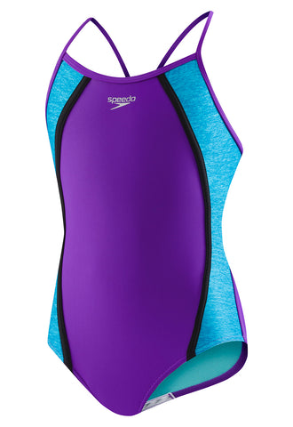 Speedo Heather Thin Strap One-Piece Swimsuit|7714700