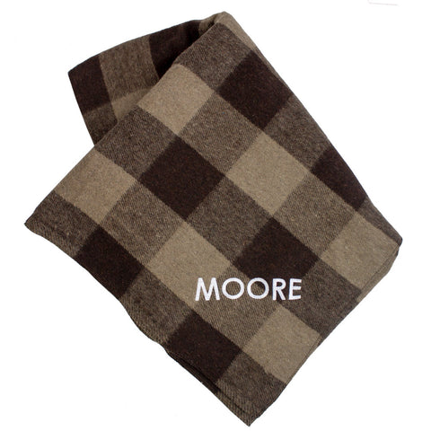Personalized Bunkhouse Plaid Wool Blanket