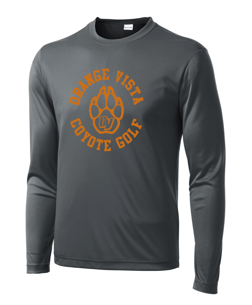 Orange Vista Wicking Performance Long Sleeve Tee