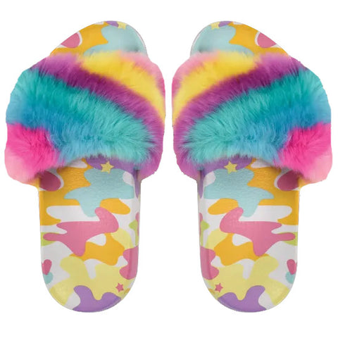 iScream Rainbow Camo Furry Slides