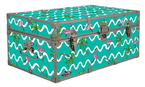 Designer Trunk - Flamingo & Palm - 32x18x13.5""