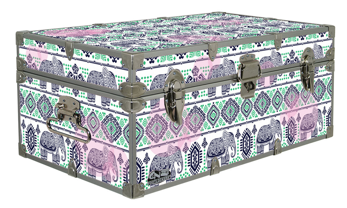 Designer Trunk - Aztec Elephants - 32x18x13.5""