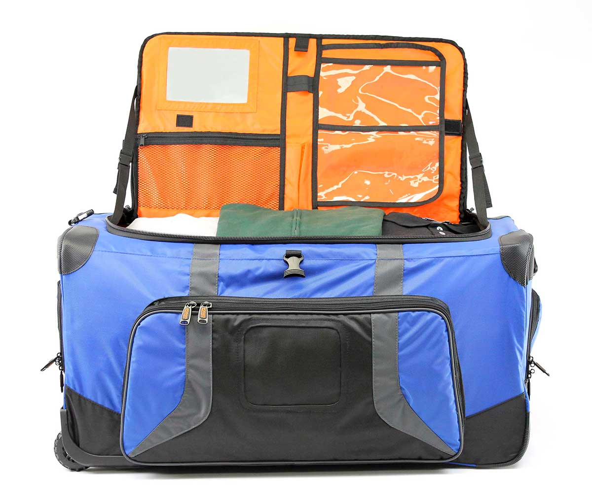 Pop Up Soft Trunk Blue Corner Classic Lightweight Duffel Navy Opened Showing The Inside Including Built In Lidmate Organizer