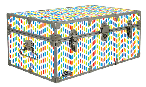 Designer Trunk - Multi-Color Chevron Puzzle - 32x18x13.5""