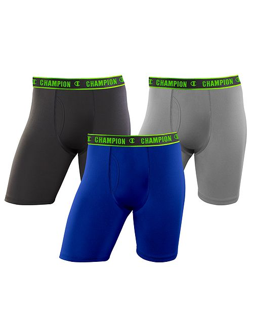 Champion Mens Active Performance Long Leg Boxer Brief 3-Pack